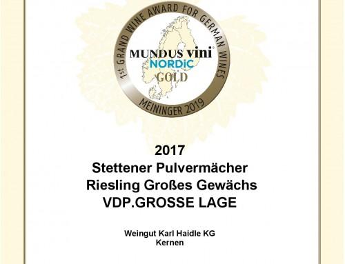 Nordic Wine Award 2019 – GOLD für Stettener Pulvermächer GG